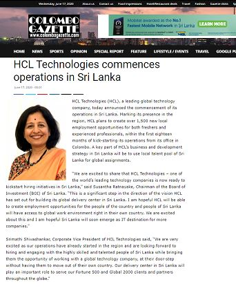 HCL Virtual - Colombo Gazette