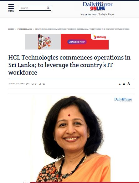 HCL Virtual - Daily Mirror online